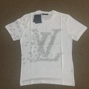 Louis Vuitton White Planes Print T-shirt  Size : M